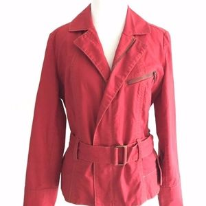 CAbi | Womens Red Belted Jacket Zip Up